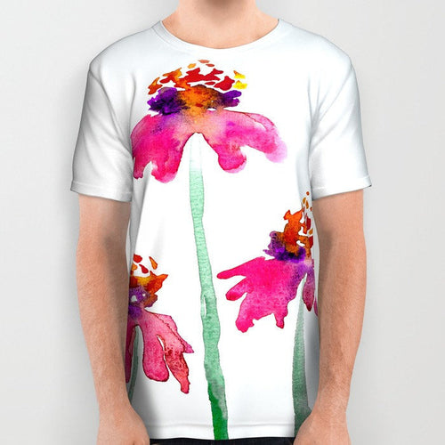 Designer Clothing - Echinacea Floral Painting - Artistic All Over Printed T Shirt - Brazen Design Studio