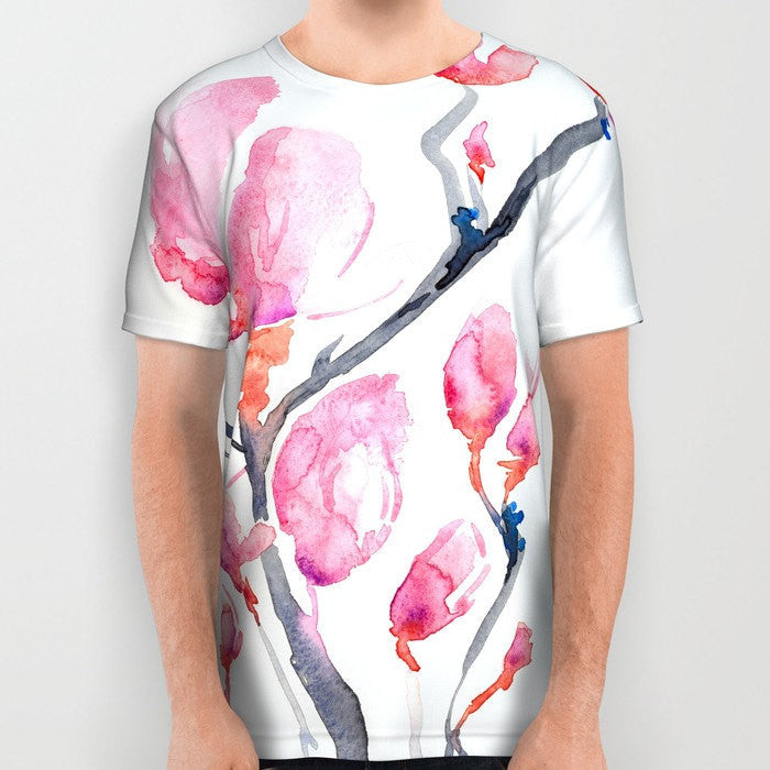 Designer Clothing - Japanese Magnolia Painting - Artistic All Over Printed T Shirt - Brazen Design Studio