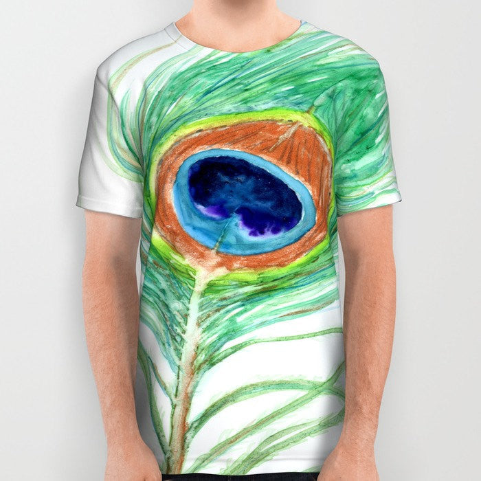 Designer Clothing - Peacock Feather Painting - Artistic All Over Printed T Shirt - Brazen Design Studio