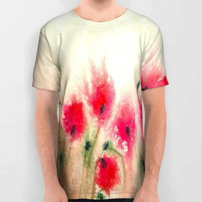 Designer Clothing - Poppies Painting - Artistic All Over Printed T Shirt - Brazen Design Studio