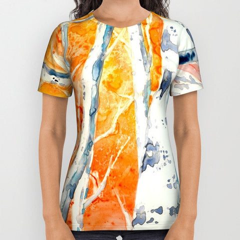 Designer Clothing - Aspen Tree Painting - Artistic All Over Printed T Shirt - Brazen Design Studio