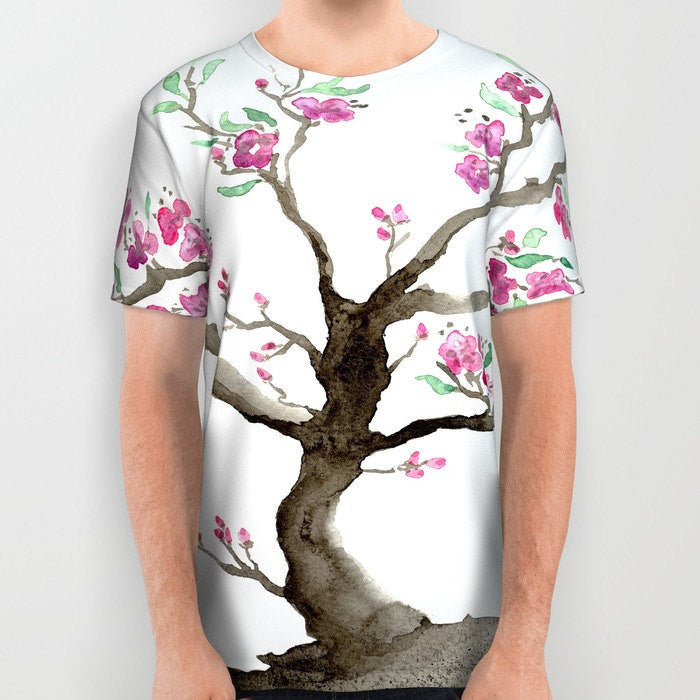 Designer Clothing - Sakura Tree Cherry Blossom Painting - Artistic All Over Printed T Shirt - Brazen Design Studio