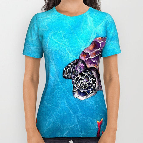 Designer Clothing - Sea Turtle Painting - Artistic All Over Printed T Shirt - Brazen Design Studio