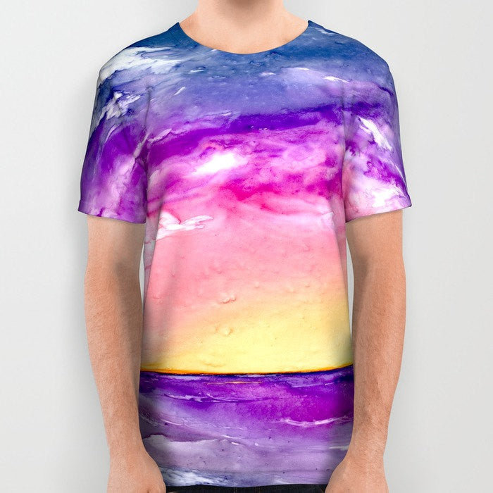 Designer Clothing - Ocean Painting - Artistic All Over Printed T Shirt - Brazen Design Studio