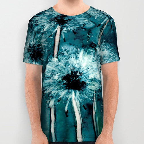Designer Clothing - Dandelion Painting - Artistic All Over Printed T Shirt - Brazen Design Studio