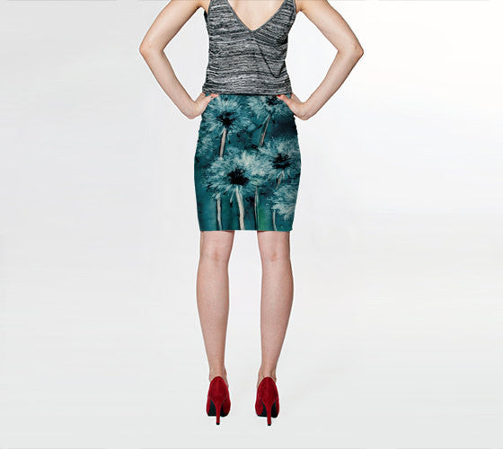 Designer Clothing - Dandelion Floral Painting - Printed Pencil Skirt - Brazen Design Studio