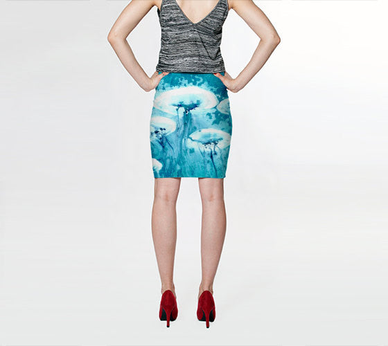 Designer Clothing - Jellyfish Ocean Painting - Printed Pencil Skirt - Brazen Design Studio