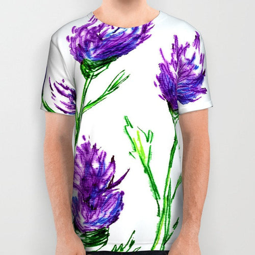 Designer Clothing - Floral Clover Painting - Artistic All Over Printed T Shirt - Brazen Design Studio