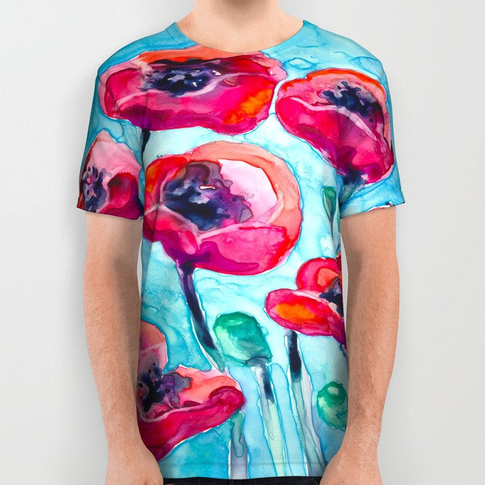 Designer Clothing - Poppy Floral Painting - Artistic All Over Printed T Shirt - Brazen Design Studio