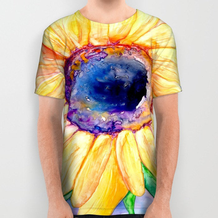 Designer Clothing - Sunflower Painting - Artistic All Over Printed T Shirt - Brazen Design Studio