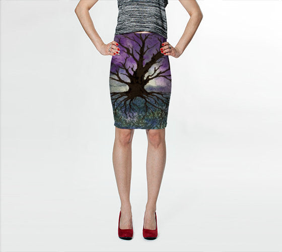 Designer Clothing - Tree of Life Painting - Printed Pencil Skirt - Brazen Design Studio