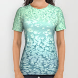 Designer Clothing - Ocean Water Seafoam Painting - Artistic All Over Printed T Shirt - Brazen Design Studio