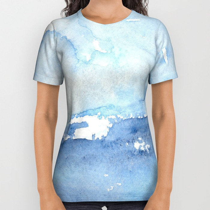 Designer Clothing - Ocean Wave Painting - Artistic All Over Printed T Shirt - Brazen Design Studio