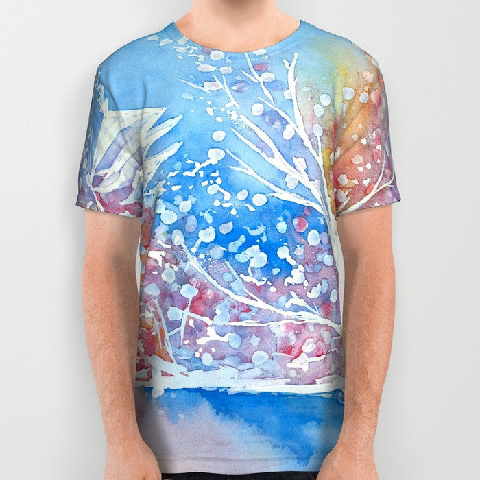 Designer Clothing - Cherry Blossom Painting - Artistic All Over Printed T Shirt - Brazen Design Studio