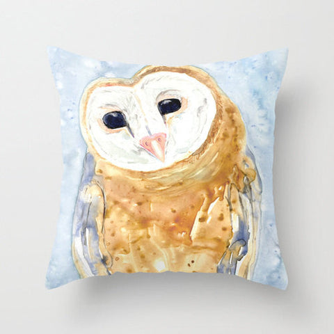 Pillow Cover - Barn Owl - Throw Pillow Cushion - Bird Art Decor - Brazen Design Studio