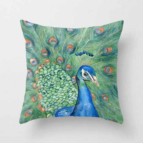 Decorative Pillow Cover - Peacock Painting - Throw Pillow Cushion - Fine Art Home Decor - Brazen Design Studio