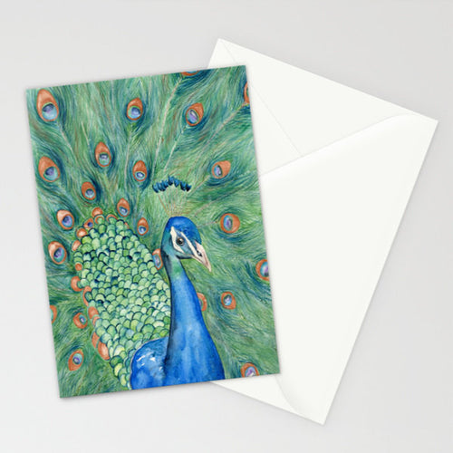 Peacock Watercolor Painting - Wildlife Bird Art Card - Brazen Design Studio