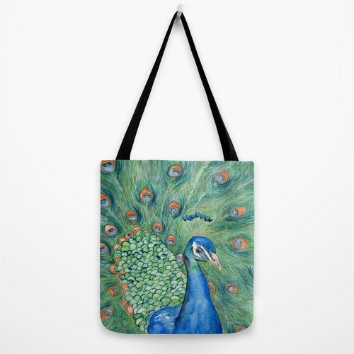 Art Tote Bag - Peacock Bird Watercolor Painting - Shopping Bag