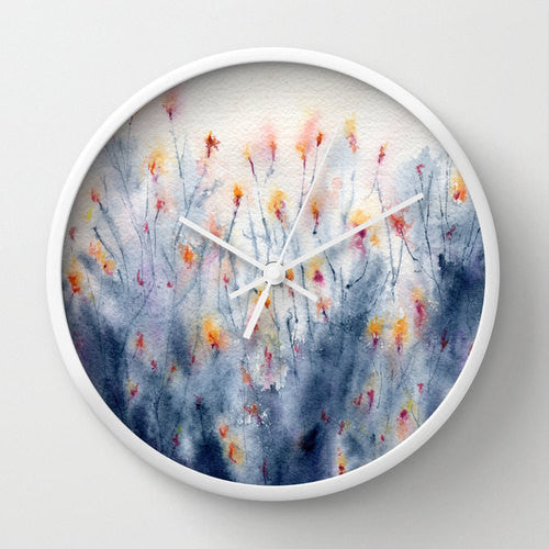 Wildflowers Wall Clock - Kitchen Clock Modern Decor Wall Clock - Floral Painting - Brazen Design Studio