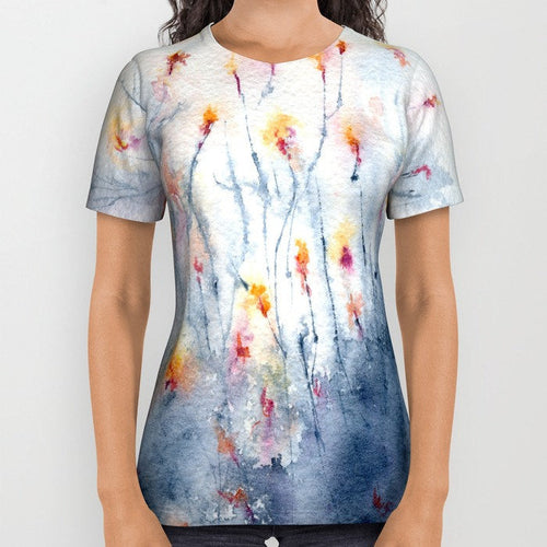 Designer Clothing - Wildflowers Floral Painting - Artistic All Over Printed T Shirt - Brazen Design Studio