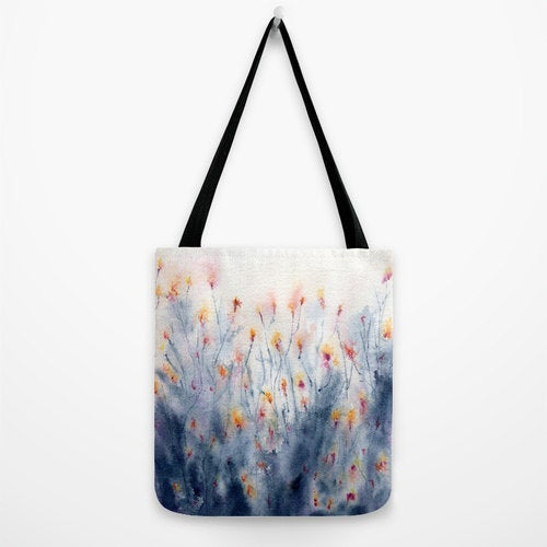 Art Tote Bag - Wildflowers Watercolor Painting - Shopping Bag