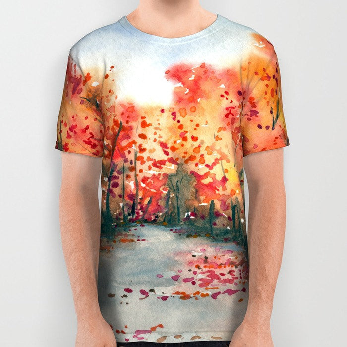 Designer Clothing - Landscape Painting - Artistic All Over Printed T Shirt - Brazen Design Studio