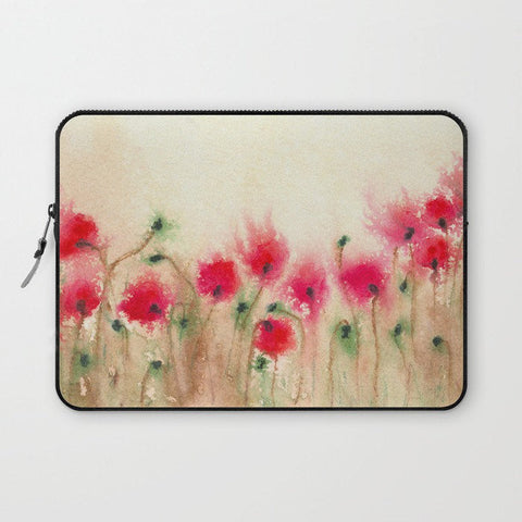 Floral Macbook Pro Laptop Case - Artistic Printed Fabric Laptop Sleeve - Poppies Painting - Brazen Design Studio