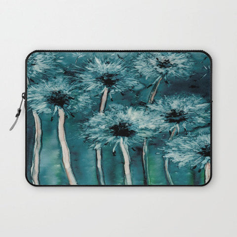 Floral Macbook Pro Laptop Case - Artistic Printed Fabric Laptop Sleeve - Dandelions Painting - Brazen Design Studio