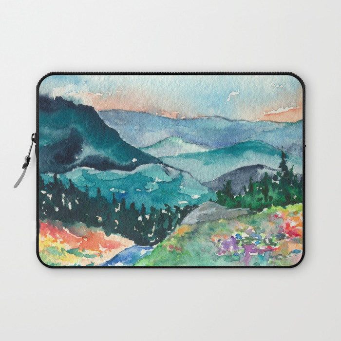 Scenic Macbook Pro Laptop Case - Artistic Printed Fabric Laptop Sleeve - Mountains Painting - Brazen Design Studio