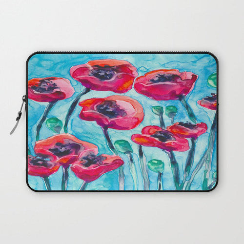 Floral Macbook Pro Laptop Case - Artistic Printed Fabric Laptop Sleeve - Painting - Brazen Design Studio