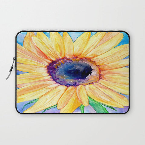 Floral Macbook Pro Laptop Case - Artistic Printed Fabric Laptop Sleeve - Sunflower Painting - Brazen Design Studio