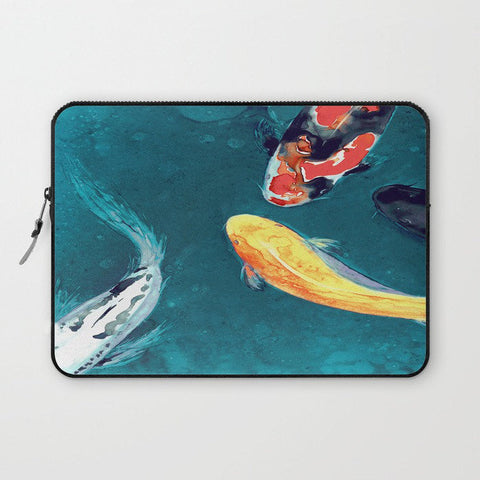 Koi Macbook Pro Laptop Case - Artistic Printed Fabric Laptop Sleeve - Koi Fish Painting - Brazen Design Studio