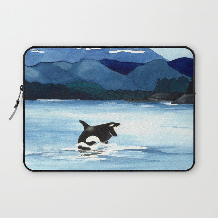 Scenic Macbook Pro Laptop Case - Artistic Printed Fabric Laptop Sleeve - Orca Painting - Brazen Design Studio