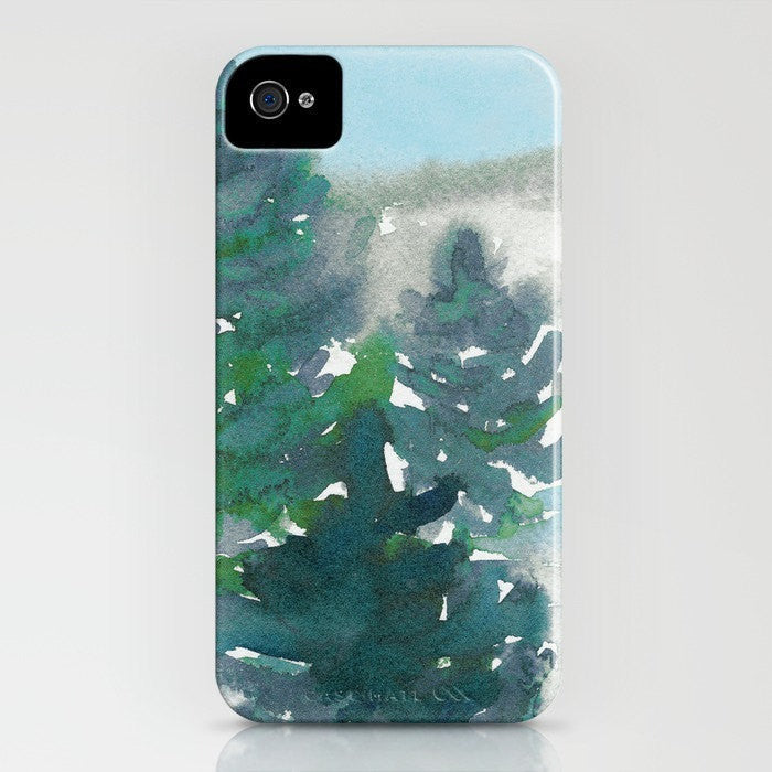 Watercolor Phone Case - Evergreen Tree Painting Cell Phone Cover - Designer iPhone or Samsung Case - Brazen Design Studio