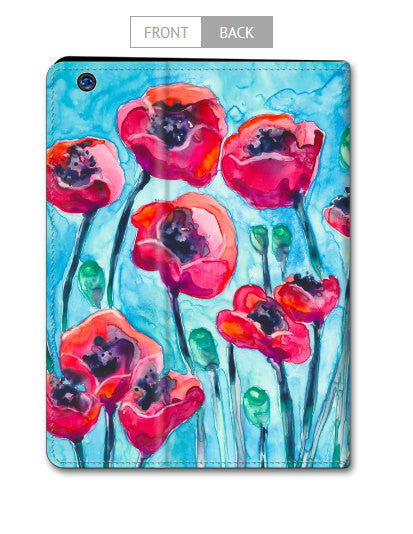 Floral Poppy iPad Mini iPad Air Hard or Folio Case - Designer Device Cover - Brazen Design Studio
