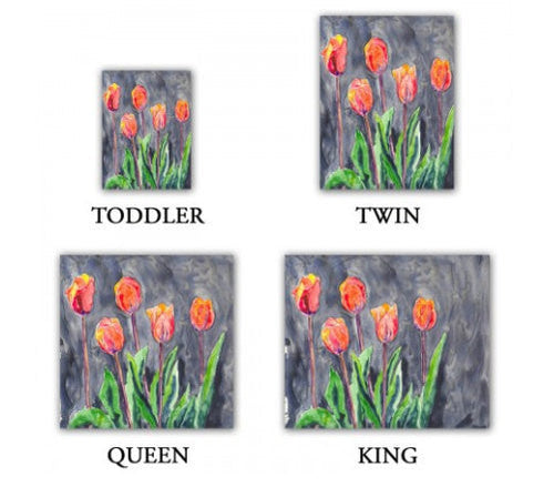 Duvet Set Tulips Painting - Nature Modern Bedding - Queen Size Duvet Cover - King Size Duvet Cover - Brazen Design Studio