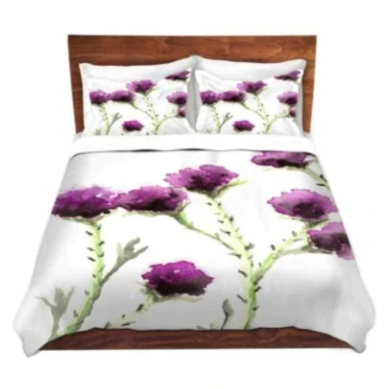 Duvet Set Floral Milk Thistle Painting   Nature...