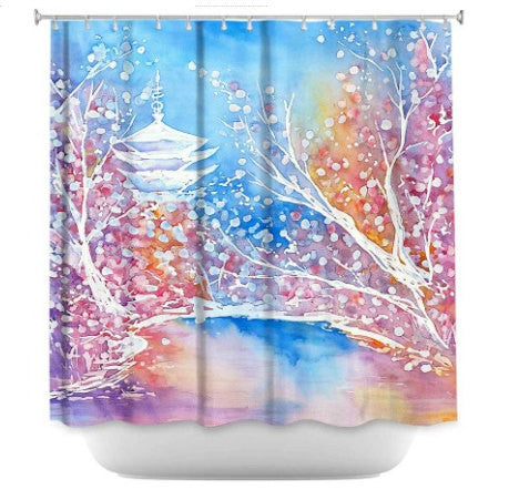 Shower Curtain Japanese Temple Cherry Blossom Painting - Artistic Bathroom - Modern Vibrant Bathroom Decor - Brazen Design Studio