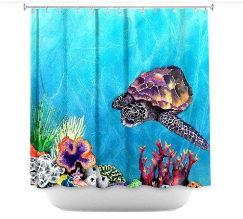 Shower Curtain Sea Turtle Painting - Artistic Bathroom - Colorful Modern Peaceful Bathroom Decor - Brazen Design Studio