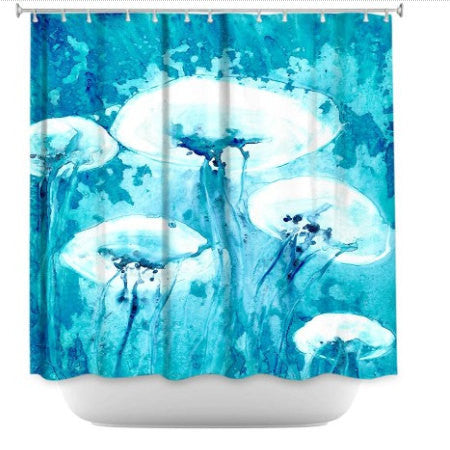 Shower Curtain Jellyfish Painting - Artistic Bathroom - Colorful Modern Peaceful Bathroom Decor - Brazen Design Studio