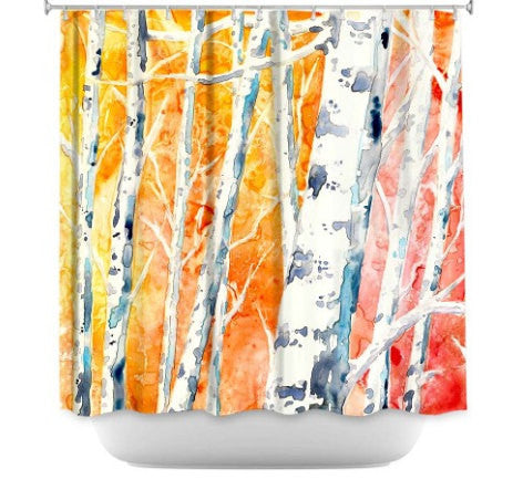 Shower Curtain Birch Tree Painting - Artistic Bathroom - Colorful Modern Vibrant Bathroom Decor - Brazen Design Studio