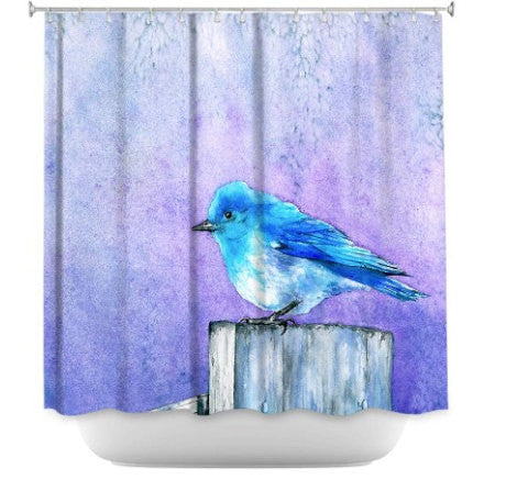 Shower Curtain Bluebird Painting - Artistic Bathroom - Modern Vibrant Bathroom Decor - Brazen Design Studio