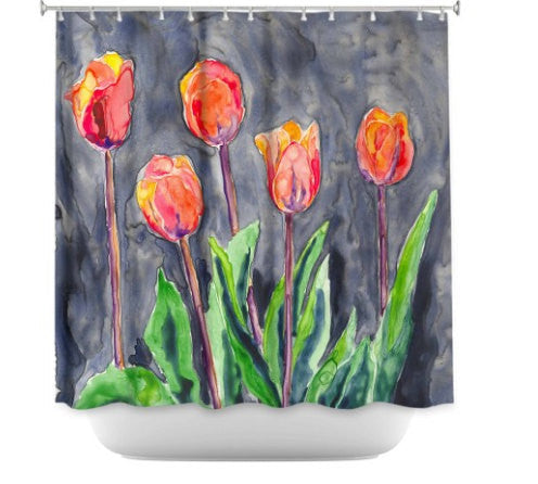 Shower Curtain Tulips Painting - Artistic Bathroom - Colorful Modern Vibrant Bathroom Decor - Brazen Design Studio