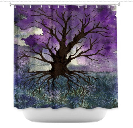 Shower Curtain Tree of Life Painting - Artistic Bathroom - Rainbow Modern Vibrant Bathroom Decor - Brazen Design Studio