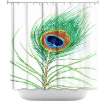 Shower Curtain Peacock Feather Painting - Artistic Bathroom - Modern Vibrant Bathroom Decor - Brazen Design Studio