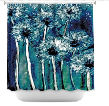 Shower Curtain Dandelions Painting - Artistic Bathroom - Colorful Modern Vibrant Bathroom Decor - Brazen Design Studio