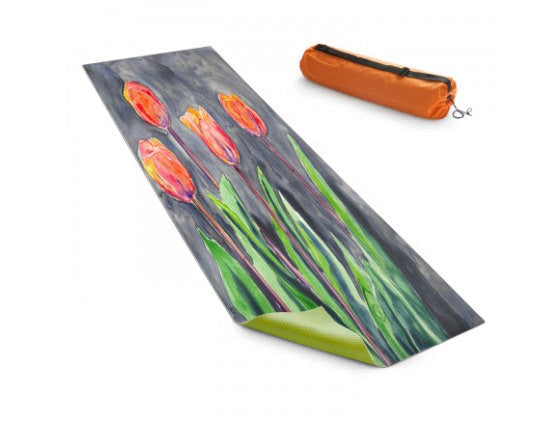 Yoga Mat Tulips Floral Watercolor Painting - Exercise Mat - Brazen Design Studio