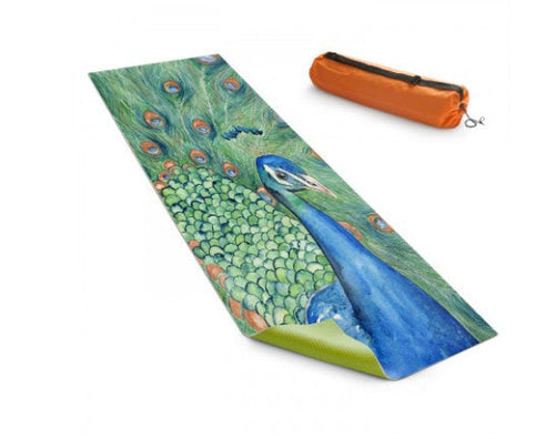 Yoga Mat Peacock Bird Watercolor Painting - Exercise Mat - Brazen Design Studio