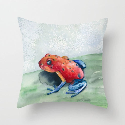 Decorative Pillow Cover - Blue Jean Frog Art - Throw Pillow Cushion - Fine Art Home Decor - Brazen Design Studio