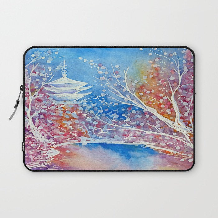 Japanese Temple Macbook Pro Laptop Case - Artistic Printed Fabric Laptop Sleeve - Watercolour Painting - Brazen Design Studio